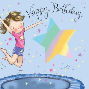 TW641 - Happy Birthday Card Girls Trampoline